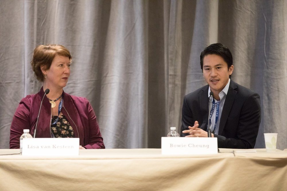 SeeLevel HX CEO Lisa van Kesteren sits on a panel with Bowie Chung