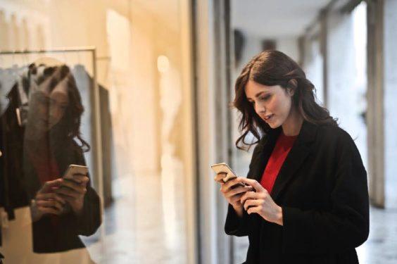 Secret Shopping Customer' Perspective Woman Smartphone